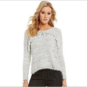 Chelsea & Violet Gray Fuzzy Fringe Sweater